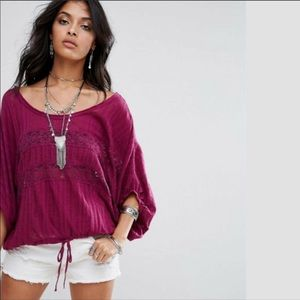 Free People I'm Your Baby Pullover in Berry NWT